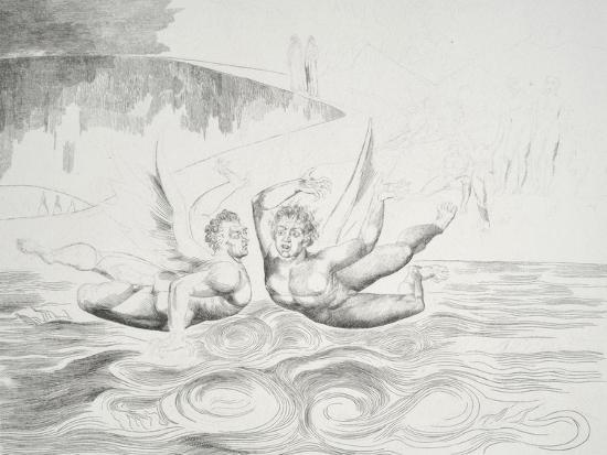 The Circle of the Corrupt Officials: the Devils Mauling Each Other-William Blake-Giclee Print