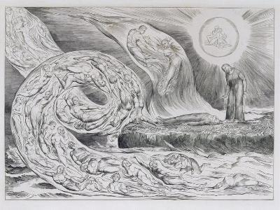 The Circle of the Lustful', Illustrations of Dante's Divine Comedy, 1827 (Engraving on India Paper)-William Blake-Giclee Print
