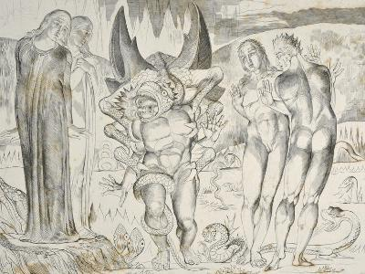 The Circle of the Thieves: Agnolo Brunelleschi Attacked by a Six-Footed Serpent Inferno-William Blake-Giclee Print