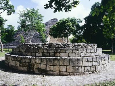 The Circular Altar in Area a in the Ancient Mayan City of Becan--Giclee Print
