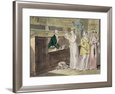 The Circulating Library (Pen and Ink and W/C and Wash on Wove Paper)-Isaac Cruikshank-Framed Giclee Print