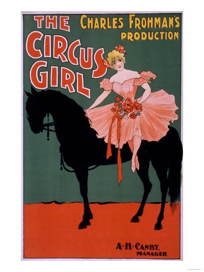 The Circus Girl - Woman on Horse Theatrical Poster-Lantern Press-Art Print
