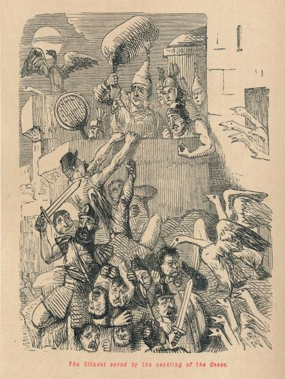 'The Citadel saved by the cackling of the Geese', 1852-John Leech-Giclee Print