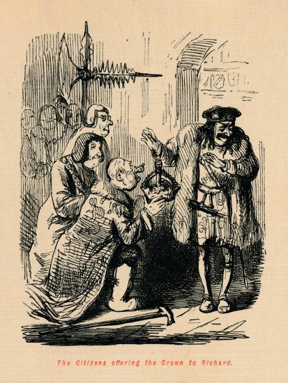 'The Citizens offering the Crown to Richard',-John Leech-Giclee Print