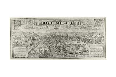 """The Citty of Bristoll"", Perspective View by James Millerd, Pub.1673--Giclee Print"