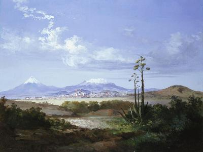 The City of Puebla with Volcanoes, 1879-Salvador Murillo-Giclee Print