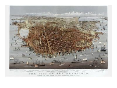 The City of San Francisco. Birds Eye View from the Bay Looking South-West-Currier & Ives-Art Print