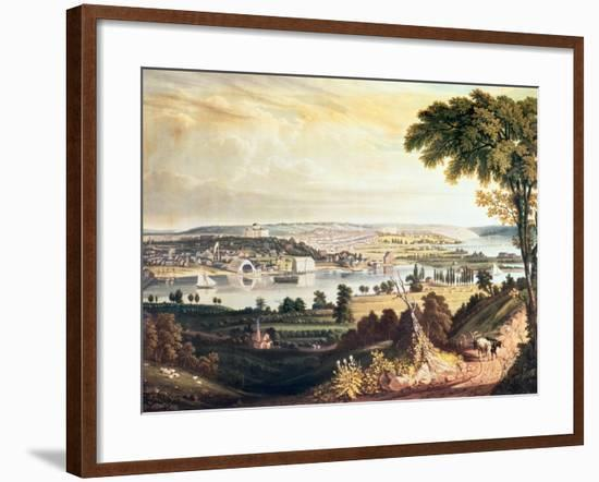 The City of Washington from Beyond the Navy Yard, Engraved by William James Bennett, c.1824-George Cooke-Framed Giclee Print