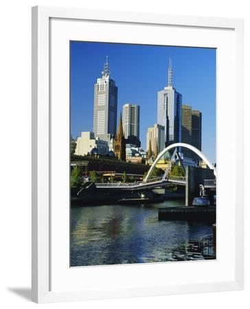 The City Skyline and Yarra River from Southgate, Melbourne, Victoria, Australia-Gavin Hellier-Framed Photographic Print