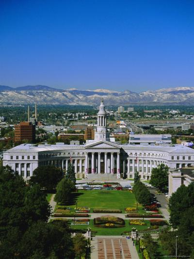 The Civic Center and Rockies Beyond, Denver, Colorado, USA-Jean Brooks-Photographic Print