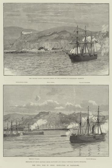 The Civil War in Chile, Hostilities at Valparaiso--Giclee Print