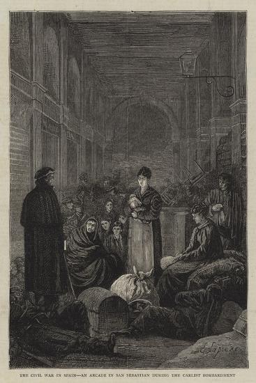 The Civil War in Spain, an Arcade in San Sebastian During the Carlist Bombardment--Giclee Print