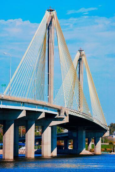 The Clark Bridge, also known as Cook Bridge, at Alton, Illinois, a Cable bridge carries U.S. Rou...--Photographic Print