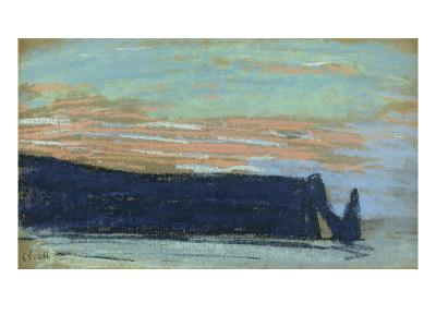The Cliff at Etretat, C.1885 (Pastel)-Claude Monet-Giclee Print
