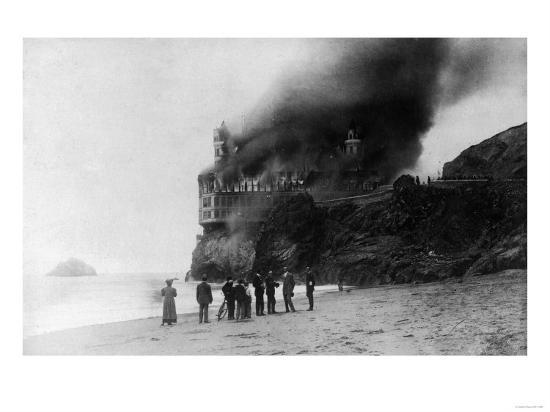 The Cliff House on Fire - San Francisco, CA-Lantern Press-Art Print