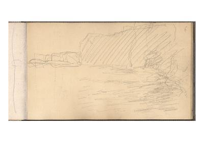 The Cliffs of Varengeville (Pencil on Paper)-Claude Monet-Giclee Print