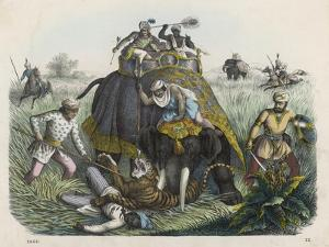 The Climax of a Tiger Hunt in India, Huntsmen