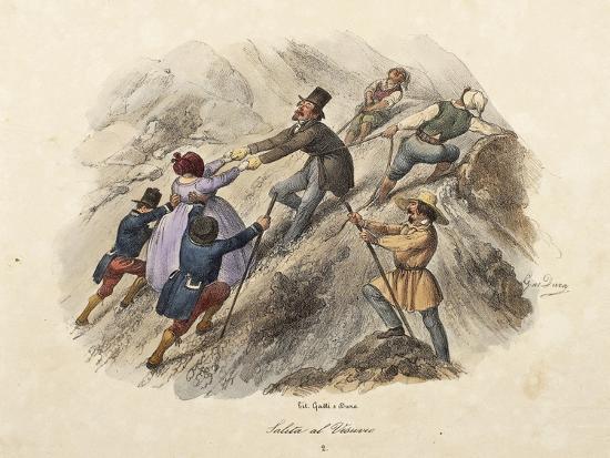 The Climb to Mount Vesuvius, Lithograph by Gatti and Dura--Giclee Print