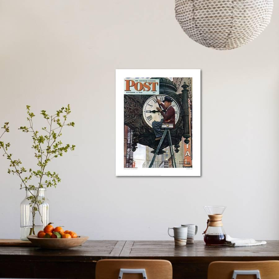 The Clock Mender Giclee Print by Norman Rockwell | Art.com