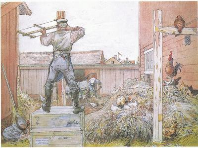 The Cock Went on Crowing All the Time Elfstrom Sawed and Hammered-Carl Larsson-Giclee Print