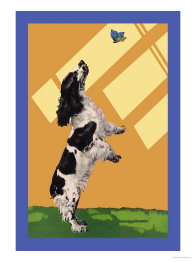 The Cocker Spaniel Sees a Butterfly-Diana Thorne-Art Print