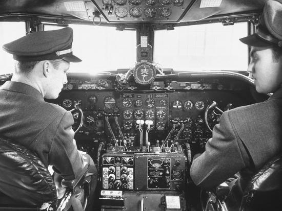The Cockpit of a United Airlines Dc-4--Photographic Print