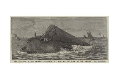 The Collision in the Channel, Attempting to Blow Up the Hull of the Forest, Off Weymouth-William Edward Atkins-Giclee Print