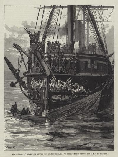The Collision Off Folkestone Between Two German Ironclads-William Heysham Overend-Giclee Print
