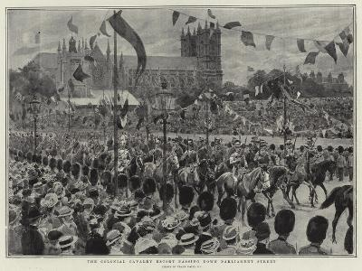 The Colonial Cavalry Escort Passing Down Parliament Street-Frank Dadd-Giclee Print