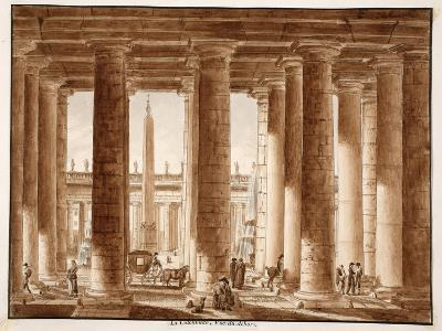 The Colonnade of St. Peter's Square, Seen from Outside, 1833-Agostino Tofanelli-Giclee Print