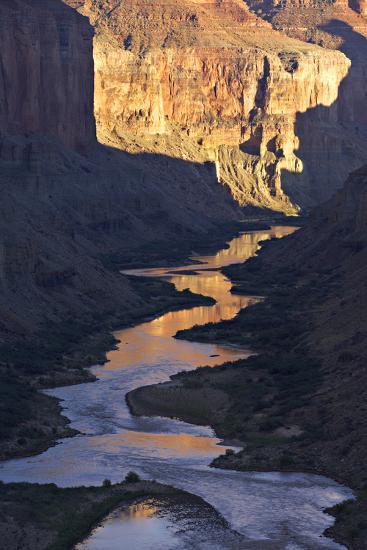 The Colorado River and Canyon Cliffs Reflect Sunlight at Nankoweap-Derek Von Briesen-Photographic Print