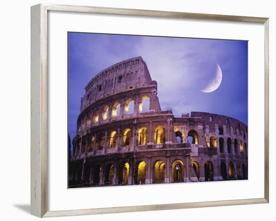 The Colosseum at Night, Rome, Italy-Terry Why-Framed Premium Photographic Print