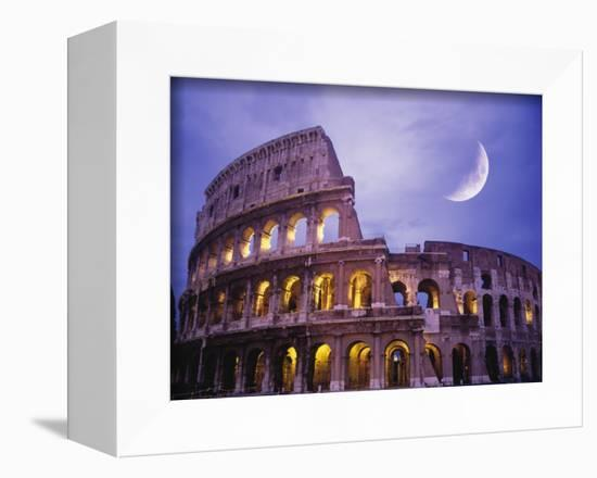 The Colosseum at Night, Rome, Italy-Terry Why-Framed Premier Image Canvas