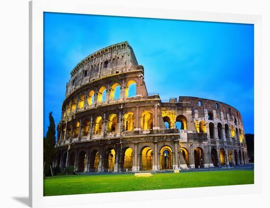 The Colosseum in Rome at Night-Terry Why-Framed Premium Photographic Print