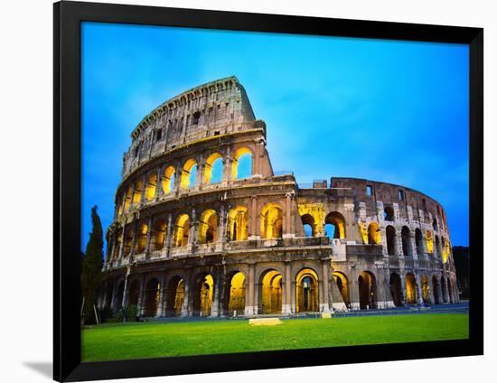 The Colosseum in Rome at Night-Terry Why-Framed Photographic Print