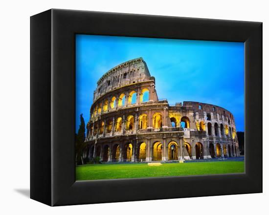 The Colosseum in Rome at Night-Terry Why-Framed Stretched Canvas Print