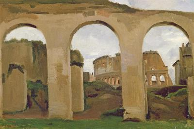 The Colosseum, Seen Through the Arcades of the Basilica of Constantine, 1825-Jean-Baptiste-Camille Corot-Giclee Print