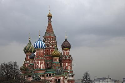 The Coloured Domes of St Basils Cathedral, Moscow, Russia-Richard Bryant-Photo