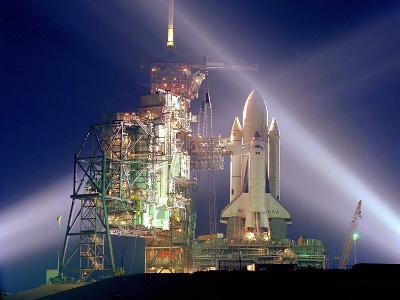 The Columbia on Launch Pad Prior to First Launch of 30 Year Space Shuttle Program, Apr 12, 1981--Photo