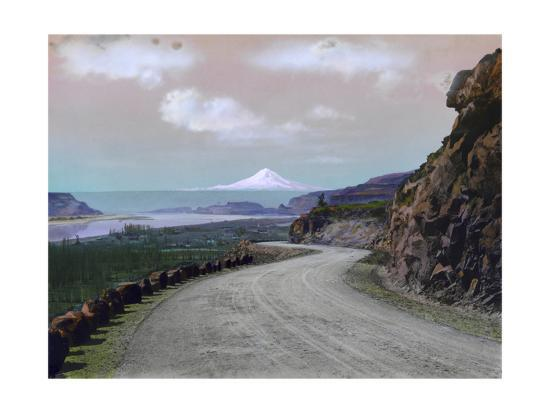The Columbia River Winds Through Mountainous Maryhill and Mt. Hood-A. H. Barnes-Photographic Print