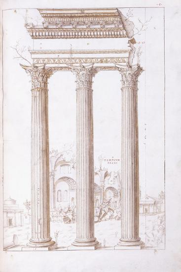 The Columns of the Temple of Castor and Pollux-Giulio Romano-Giclee Print