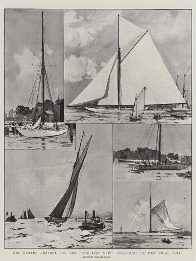 The Coming Contest for the America Cup, Columbia on Her Trial Trip-Charles Edward Dixon-Giclee Print