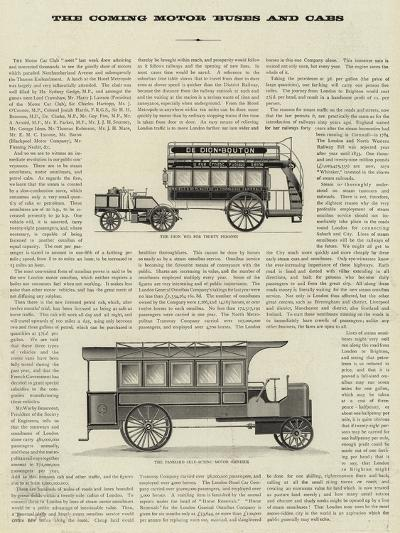The Coming Motor Buses and Cabs--Giclee Print