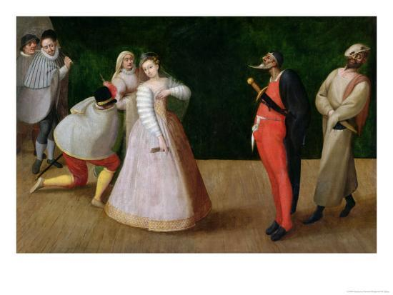 The Compagnia Dei Comici Gelosi with Isabella Andreini Depicted Giving a Performance in Paris-Hieronymus Francken-Giclee Print