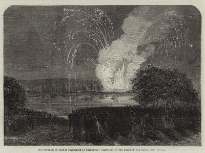 The Congress of German Sovereigns at Frankfort, Fireworks on the Banks of the Maine--Giclee Print