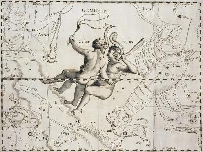 The Constellation of Gemini from Firmamentum Sobiescianum Sive Uranographia--Giclee Print