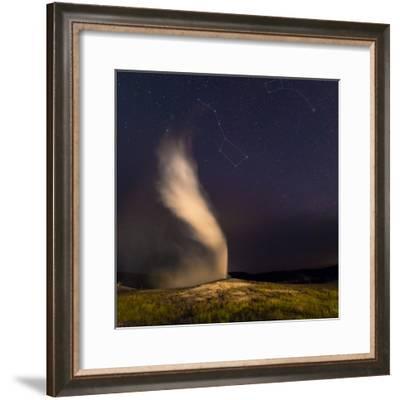 The Constellation Ursa Major, or the Big Bear, During an Eruption of the Old Faithful Geyser-Babak Tafreshi-Framed Photographic Print