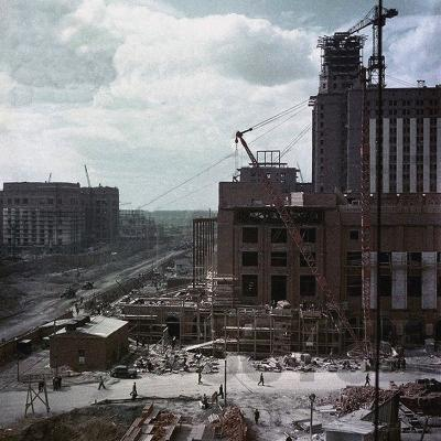 The Construction of the Main Building of Moscow State University on Lenin Hills--Giclee Print
