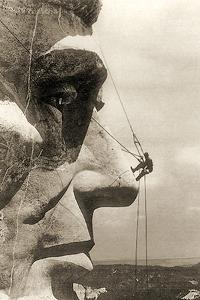 The Construction of the Mount Rushmore National Memorial, Detail of Abraham Lincoln,1928