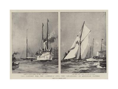 The Contest for the America Cup, the Shamrock in American Waters-Charles Edward Dixon-Giclee Print